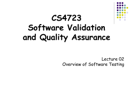 Lecture 02 Overview of Software Testing