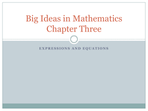 Big Ideas in Mathematics Chapter Three