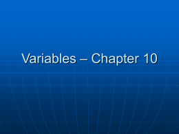 Variables – Chapter 10
