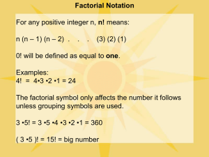 Factorial and Summation Notation