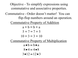 Objective - To simplify expressions using commutative and