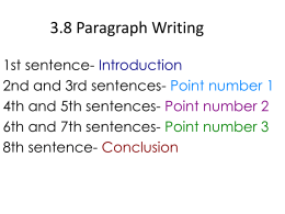 3.8 Paragraph Writing - Jessamine County Schools