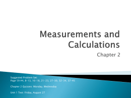 Chapter 2 - Measurements and Calculations