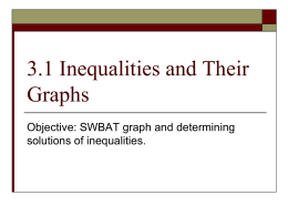 3.1 Inequalities and Their Graphs