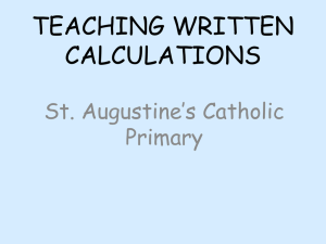 teaching written calculations - St. Augustine`s Catholic Primary School
