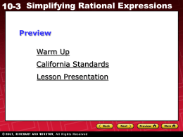 10-3 Simplifying Rational Expressions