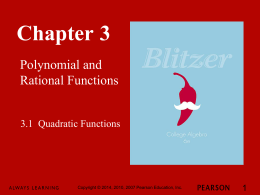 3.1 Quadratic Functions