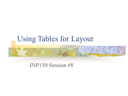 Using Tables for Layout