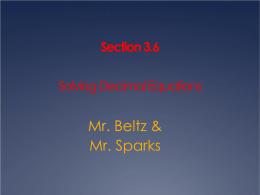 Lesson 3.6 Solving Decimal Equations ppt