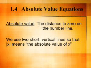 1.4 Absolute Value Equations