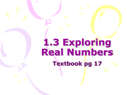 1.3 Exploring Real Numbers