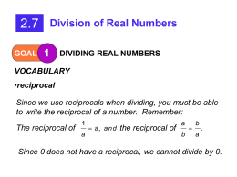 2.7 Division of Real Numbers