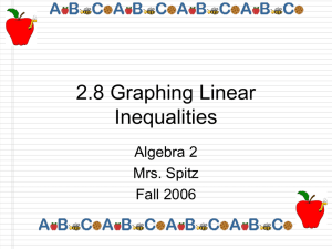 2.8 Graphing Linear Inequalities