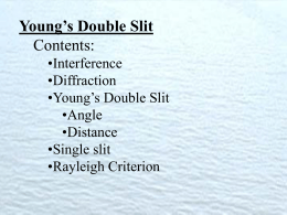 Young`s Double Slit - TuHS Physics Home Page 1.1