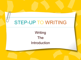 PowerPoint Presentation - STEP-UP TO WRITING