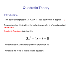 Quadratic Theory - Bearsden Academy