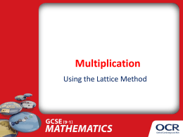Multiplication - Lattice method integers  New