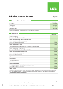 Price list, Investor Services