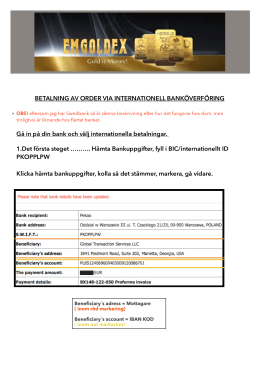 BETALNING AV ORDER VIA INTERNATIONELL