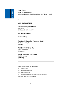 Final Terms Vontobel Financial Products GmbH Vontobel