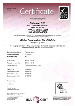 Buiteman B.V. Global Standard for Food Safety