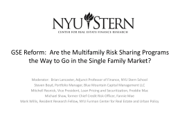 GSE Reform: Are the Multifamily Risk Sharing Programs