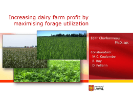 Increasing Dairy Farm Profit by maximizing forage