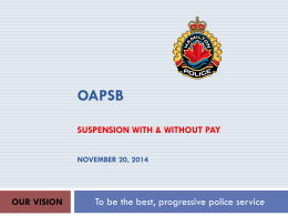 Suspension Without Pay - Ontario Association of Police Service