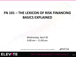 fn 101 – the lexicon of risk financing basics explained