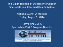 The Expanded Role of Disease Intervention Specialists in a