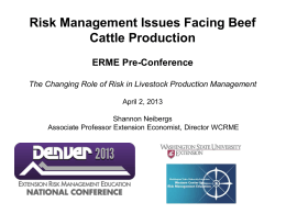 Risk Management Issues Facing Beef Cattle Production