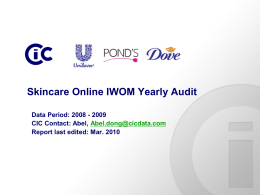 Skincare Online IWOM Yearly Audit 2009 - CIC