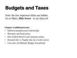 Budgets and Taxes