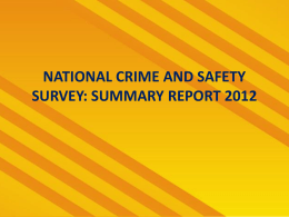 cleen foundation*s national crime and safety survey, 2012