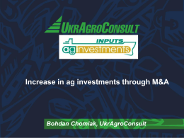 Increasing Ukrainian Agricultural M&A Investments
