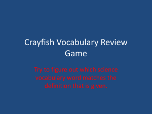 Crayfish Vocabulary Review Game