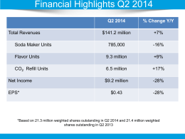 Q2 2014 Presentation - SodaStream InvestorRoom
