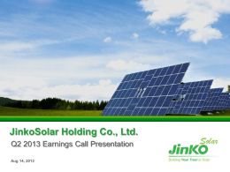 JinkoSolar Q2 2013 Earnings PPT