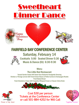 Valentines Day Dance Poster - Fairfield Bay Conference Center