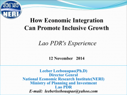 Regional Economic Integration and Inclusive Growth in Lao Peoples