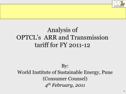 Analysis of OPTCL`s ARR and Revenue Requirement for FY 11-12
