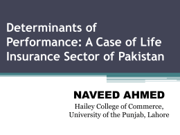 EFFICIENCY ANALYSIS OF INSURANCE COMPANIES IN PAKISTAN