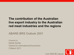 The contribution of the Australian live export industry
