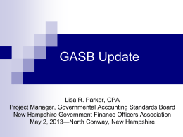 GASB Update - New Hampshire Government Finance Officers