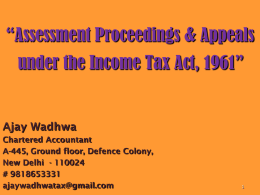 Assessment Proceedings & Appeals under the