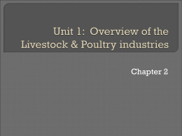 Unit 1: Overview of the livestock & Poultry industries