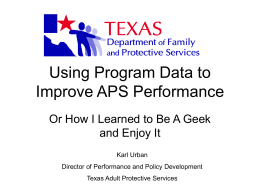 Using Program Data to Improve APS Performance