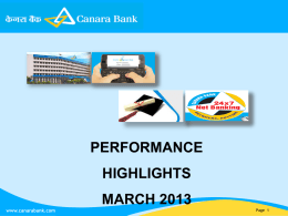 Performance Highlights March2013