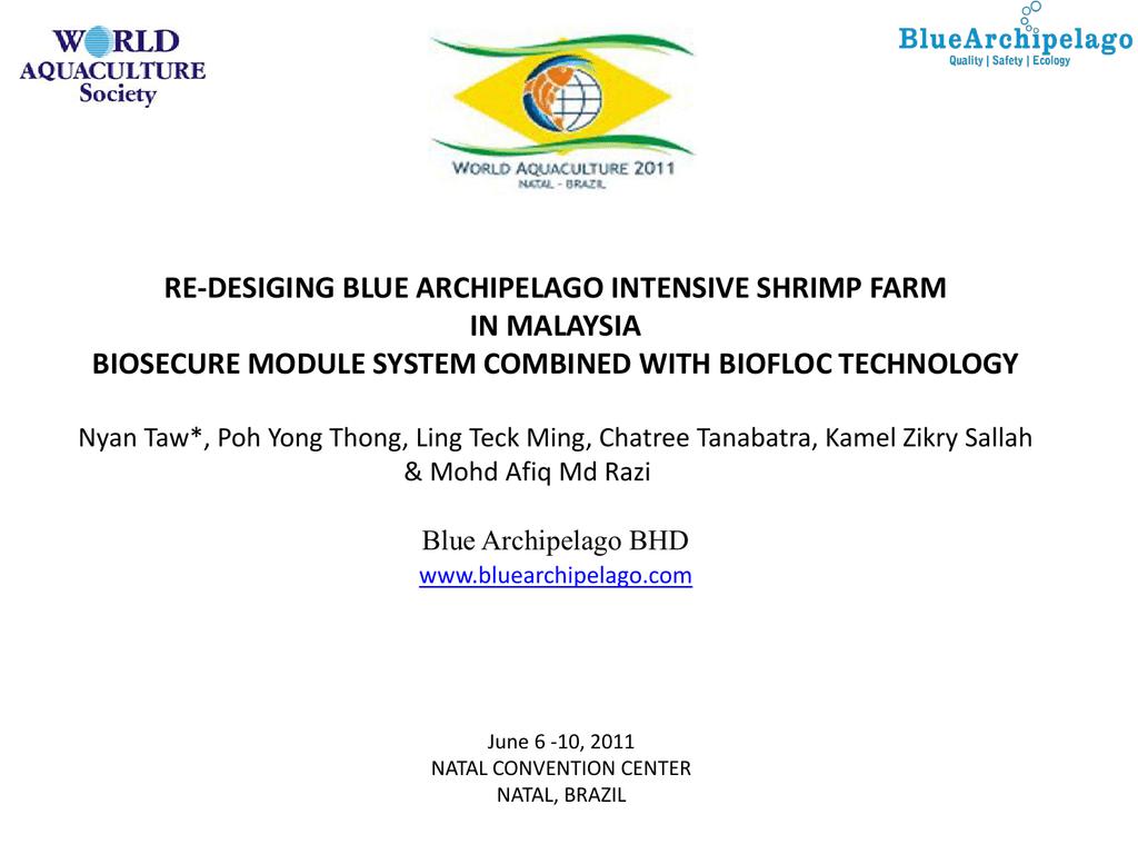 Re-designing Blue Archipelago Berhad Intensive Shrimp Farm in
