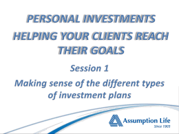 Personal Investments - Overview of Various Plans